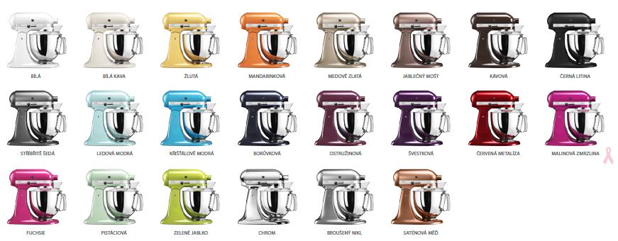 barevná škála kuchyňských robotů kitchenaid