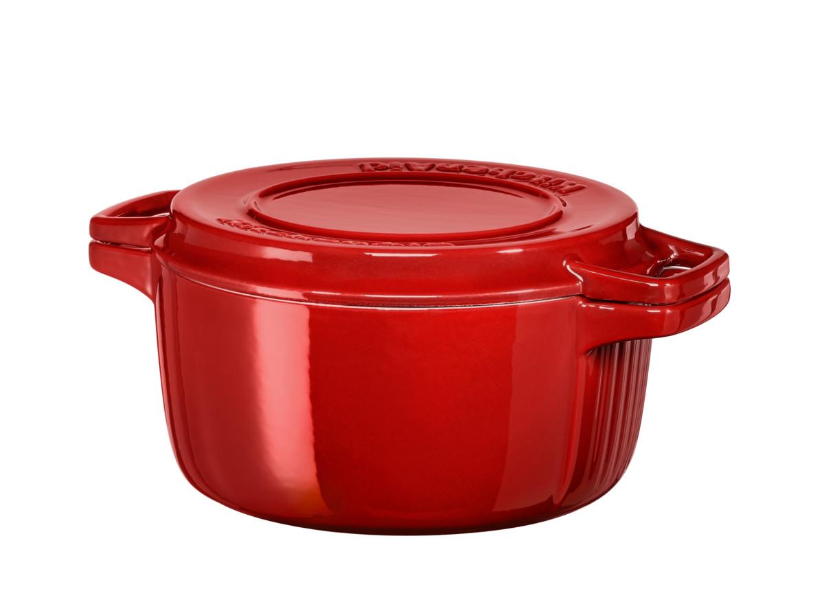 KitchenAid hrnec s poklicí litinový 3,8l, královská červená 24 cm